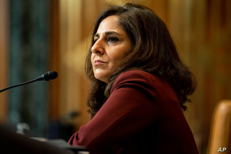 FILE - In this Feb. 10, 2021, file photo Neera Tanden, President Joe Biden's nominee for Director of the Office of Management...