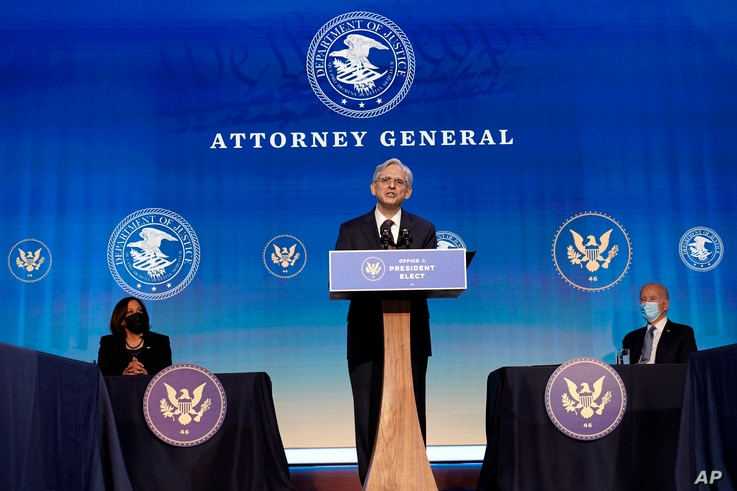 FILE - Attorney General nominee Judge Merrick Garland speaks during an event with President-elect Joe Biden and Vice President-elect Kamala Harris at The Queen theater in Wilmington, Del, Jan. 7, 2021.