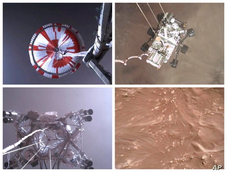 This combination of images from video made available by NASA shows steps in the descent of the Mars Perseverance rover as it…