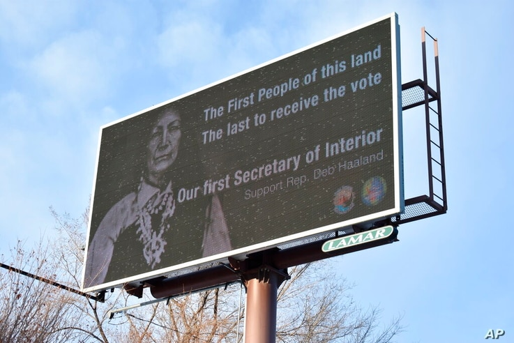 This Feb. 21, 2021, photo shows a billboard in Billings, Montana, displays support for New Mexico U.S. Rep. Deb Haaland, who...
