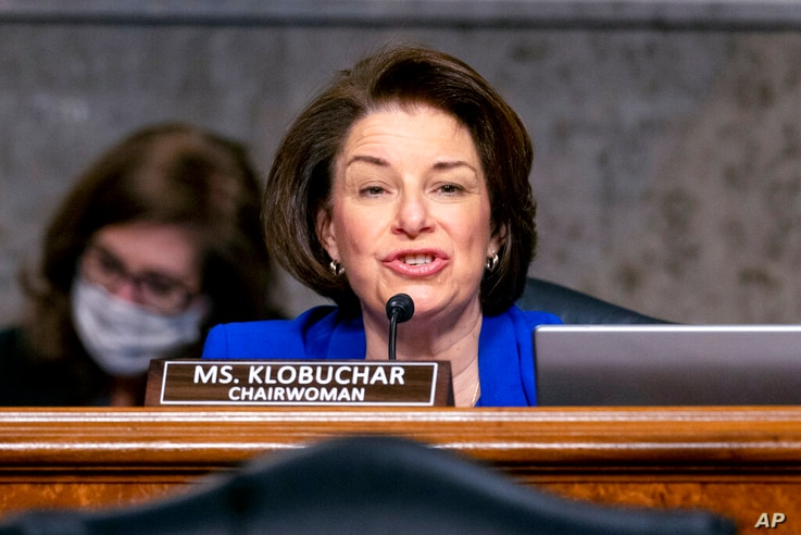 Chairwoman Amy Klobuchar, D-Minn., speaks at the start of a Senate Homeland Security and Governmental Affairs & Senate Rules…