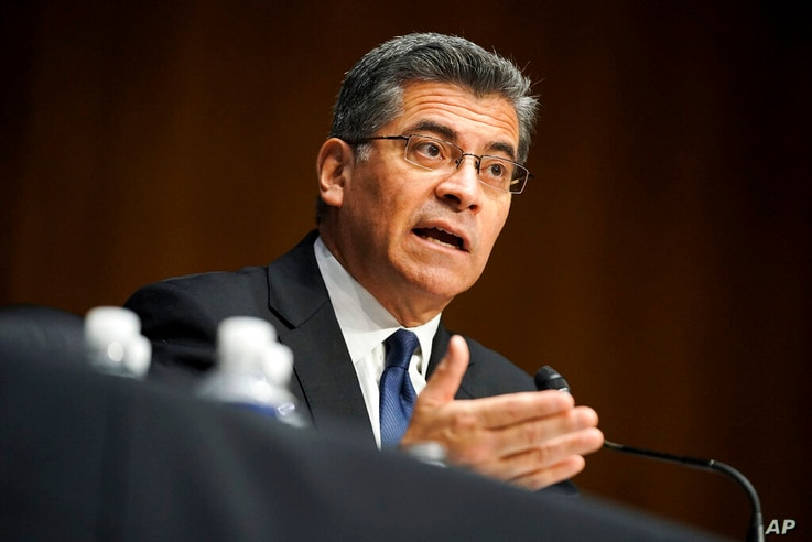 Xavier Becerra testifies during a Senate Finance Committee hearing on his nomination to be secretary of Health and Human...
