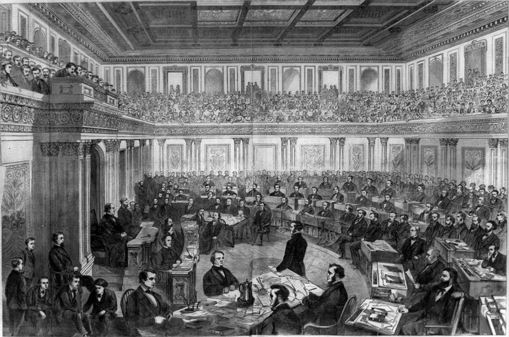 Trial of President Andrew Johnson, Harper's Weekly, April 11, 1868.