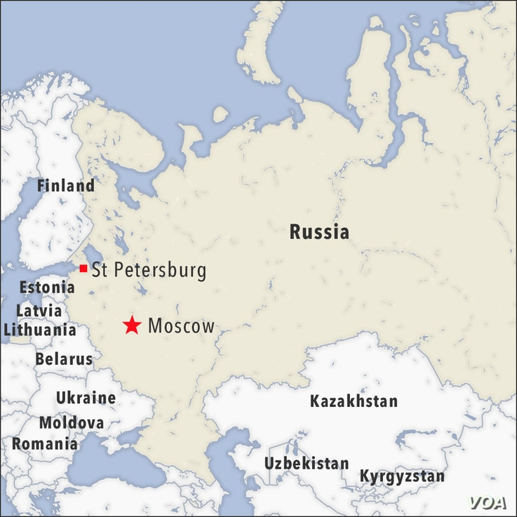 Map of Moscow and ST Petersburg Russia