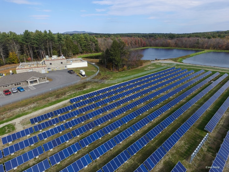 Solar array at the Peterborough, New Hampshire, water treatment plant. (Photo Courtesy of Town of Peterborough, NH)