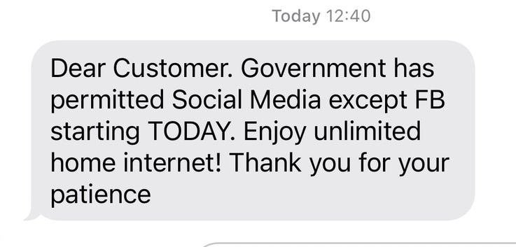 A message from service providers to consumers after the Ugandan government restored access to social media websites. (Screenshot)