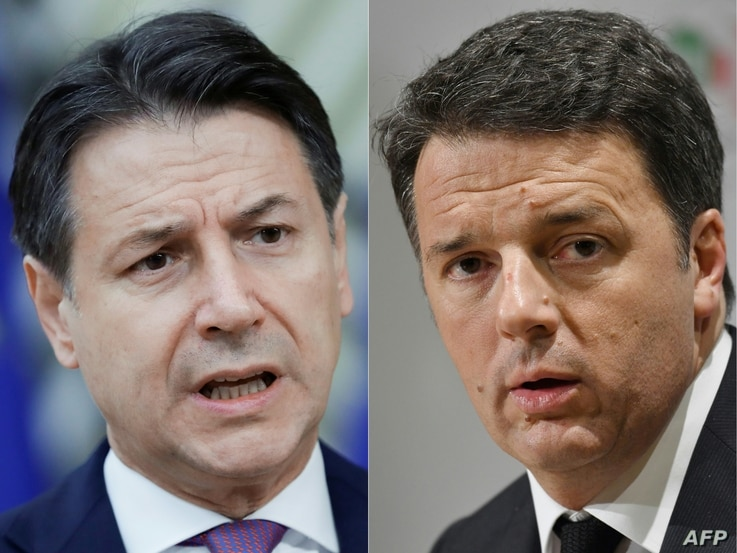 FILE - This combination of photos shows then-Italian Prime Minister Giuseppe Conte (L) at a European Union summit in Brussels, Oct. 02, 2020, and then former Italian Prime Minister Matteo Renzi at a press conference in Rome, March 5, 2018.