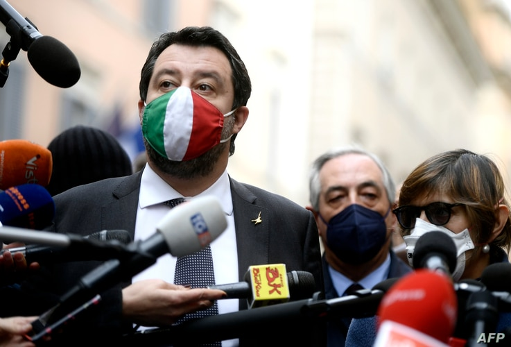 FILE - Italian far-right Lega party leader Matteo Salvini answers journalists' questions in Rome, Jan. 28, 2021.