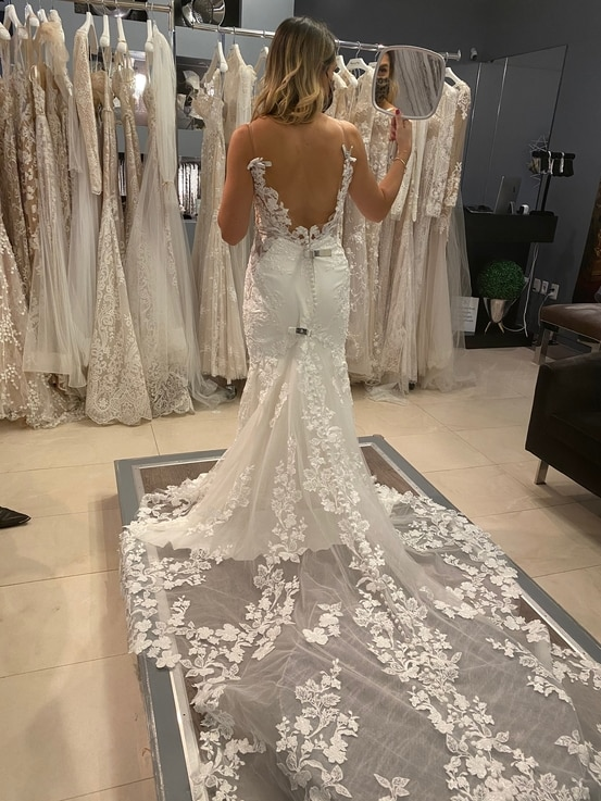 Bride-to-be Ameera Ahmadieh shops for a wedding gown. (Photo courtesy Ameera Ahmadieh)