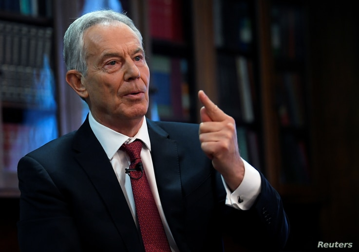 FILE - Former British Prime Minister Tony Blair speaks at the Hallam Conference Centre in London, Dec. 18, 2019.