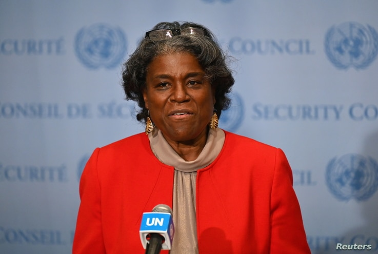 New US Ambassador to the United Nations Linda Thomas-Greenfield speaks after meeting UN Secretary General Antonio Guterres at the United Nations in New York City, February 25, 2021.