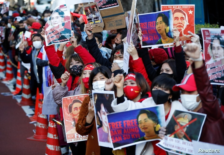 Myanmar residing in Japan protest at a rally against Myanmar's military, after it seized power from a democratically elected civilian government and arrested Aung San Suu Kyi, outside Foreign Ministry in Tokyo, Feb. 3, 2021.