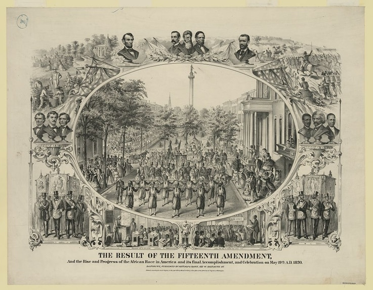 One of several large commemorative prints marking the enactment on March 30, 1870, of the Fifteenth Amendment, and showing the parade celebrating it which was held in Baltimore on May 19 the same year.