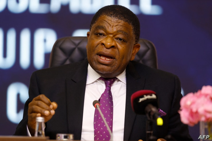 Martin Chungong, Secretary-General of the Inter-Parliamentary Union, speaks to the press following the 140th  General Assembly…