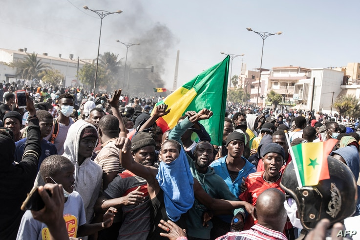 Protesters gather at Place of the Nation during a protest in Dakar on March 8, 2021, after the country's opposition leader…
