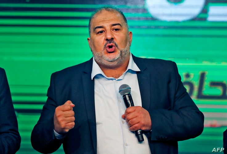 Mansour Abbas, head of a conservative Islamic party Raam, speaks at his campaign headquarters in the northern Israeli city of…