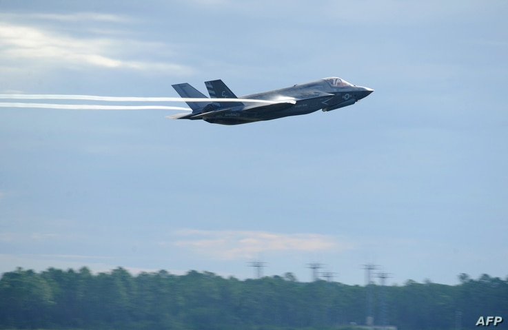 This September 16, 2016 US Air Force handout photo shows a US Marine F-35 Lightning II taking off at Tyndall Air Force Base in…