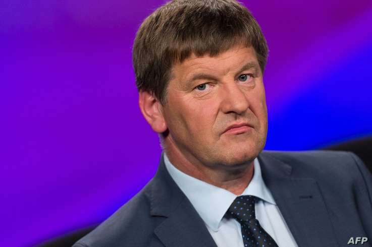 Franc Bogovic, president of the Slovenian People's Party (SLS), takes part in a televised debate ahead of elections in…