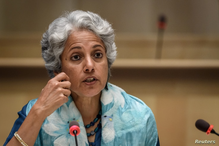 World Health Organization (WHO) Chief Scientist Soumya Swaminathan attends a press conference organised by the Geneva…