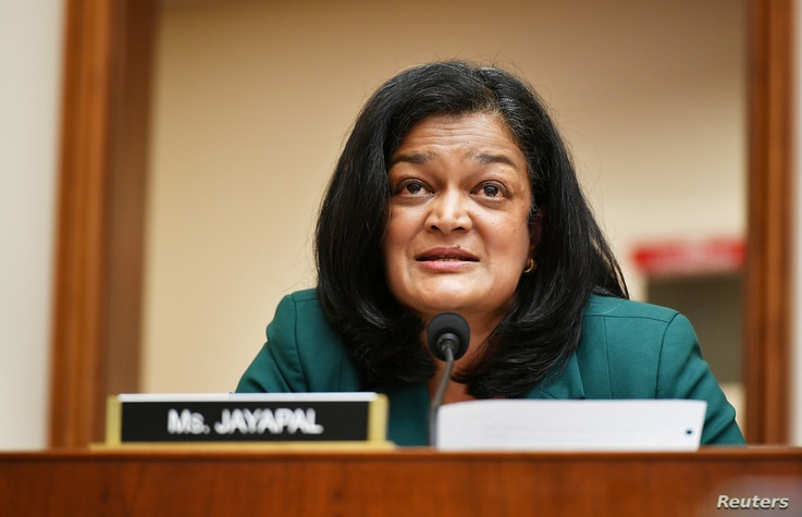 FILE - Rep. Pramila Jayapal, (D-WA), speaks during a hearing of the House Judiciary Subcommittee on Antitrust.