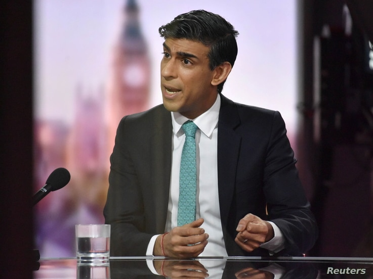 Britain's Chancellor of the Exchequer Rishi Sunak speaks on BBC TV's The Andrew Marr Show in London, Britain February 28, 2021…