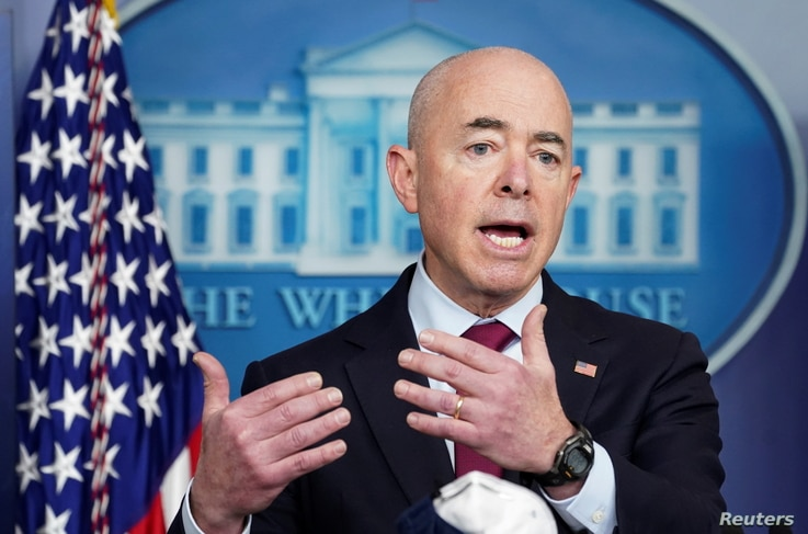 U.S. Department of Homeland Security Secretary Alejandro Mayorkas speaks during a press briefing at the White House in…