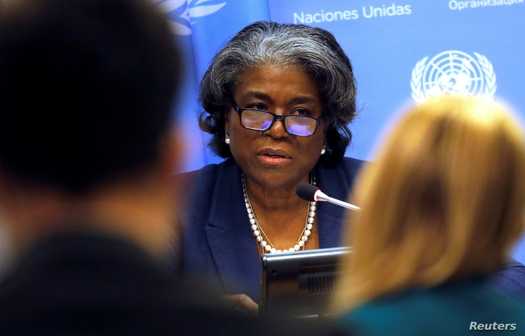 New U.S. Ambassador to the United Nations, Linda Thomas-Greenfield holds a news conference to mark the start of the U.S…