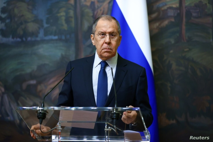 Russia's Foreign Minister Sergei Lavrov attends a news conference following a meeting with his Uzbek counterpart Abdulaziz...
