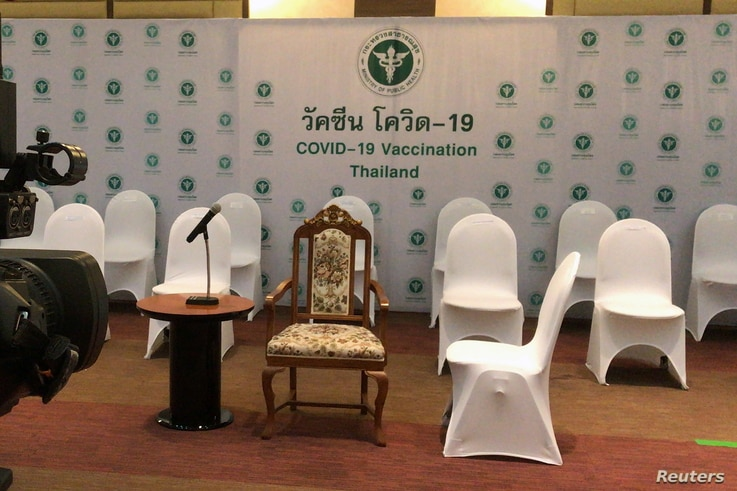 Empty chairs set up for officials to receive coronavirus disease (COVID-19) vaccinations, which was cancelled at the last…