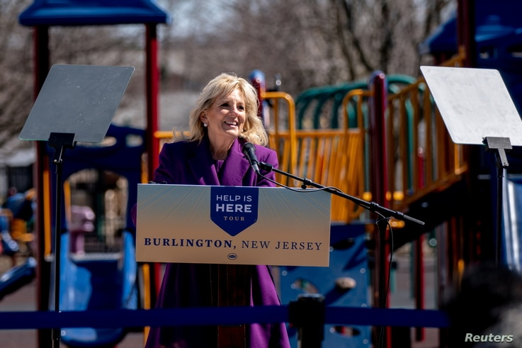 U.S. First Lady Jill Biden delivers remarks at the playground of the Samuel Smith Elementary School in Burlington, New Jersey,…