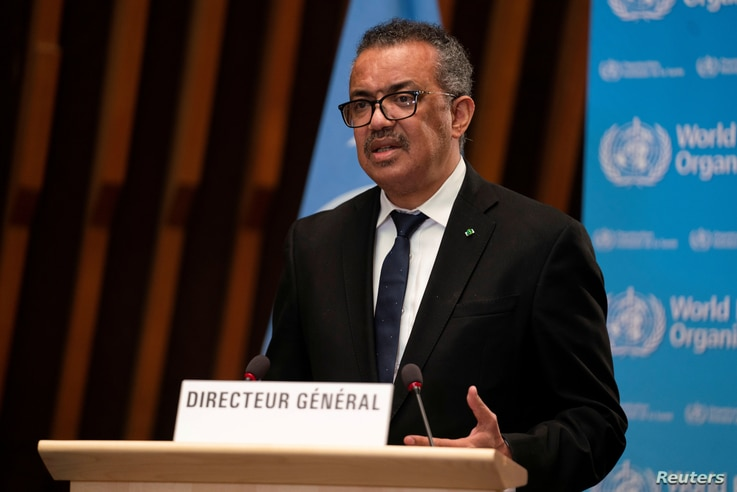 FILE PHOTO: Tedros Adhanom Ghebreyesus, Director General of the World Health Organization (WHO), speaks in Geneva, Switzerland,...