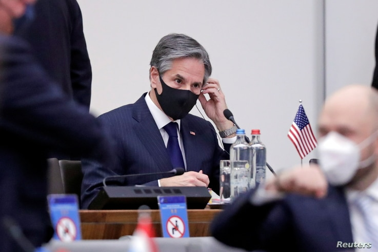 U.S. Secretary of State Antony Blinken is seen on the second day of a NATO Foreign Ministers' meeting at the Alliance's…