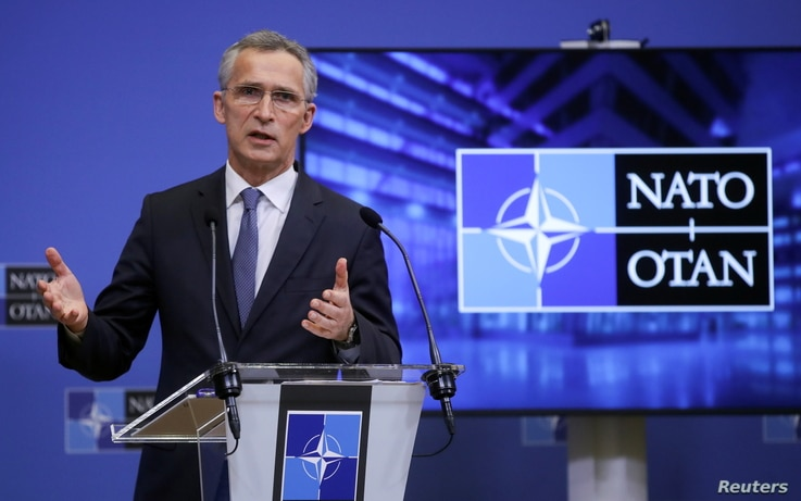 NATO Secretary General Jens Stoltenberg gives a press briefing at the end of a NATO Foreign Ministers' meeting at the Alliance...