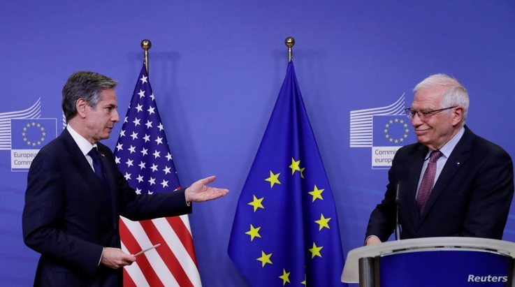 U.S. Secretary of State Antony Blinken is welcomed by European Union foreign policy chief Josep Borrell ahead of meeting in…