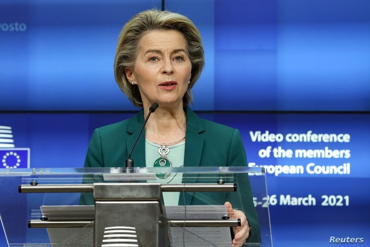 European Commission President Ursula von der Leyen delivers a joint press conference with the European Council President at the…