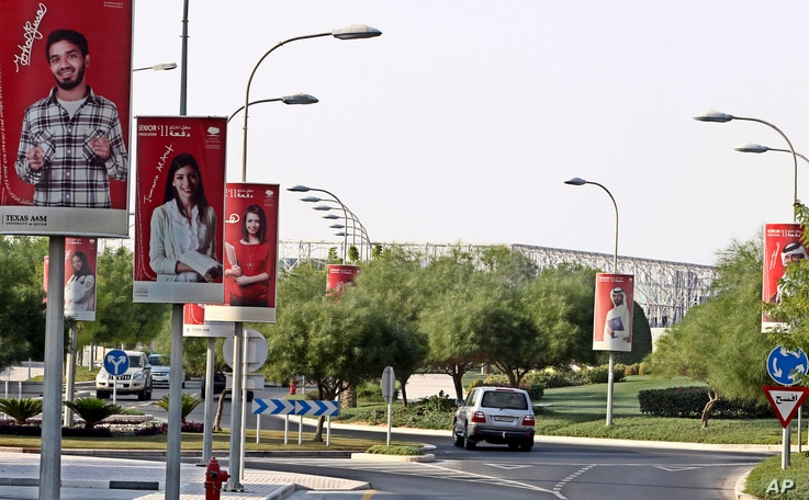 A general view with posters of university of Texas A&M is seen at Education City in Doha, Qatar in Tuesday , Oct. 18, 2011 .(AP…