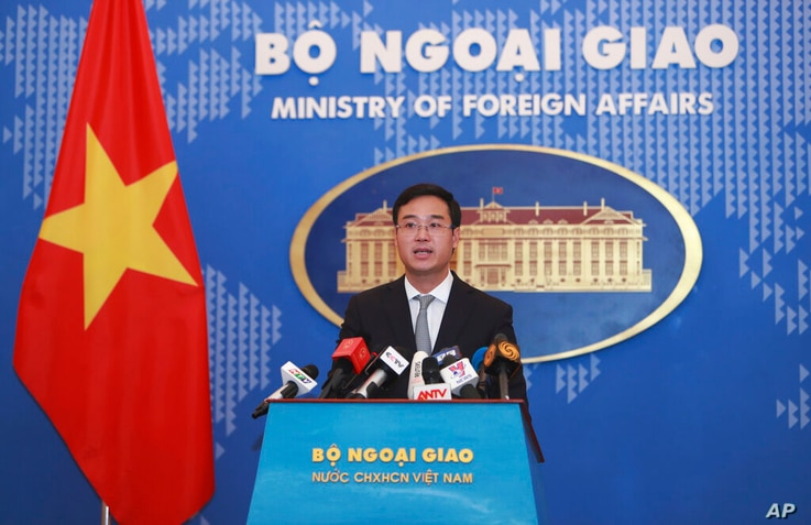 Vietnamese Ministry of Foreign Affairs deputy spokesperson Ngo Toan Thang speaks to media in Hanoi, Vietnam on Thursday, Nov. 7...