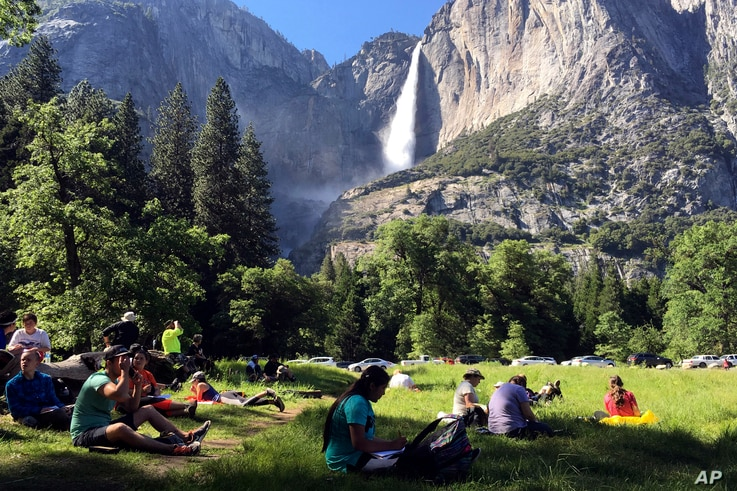 FILE - In this May 25, 2017 file photo, a class of eighth-grade students and their chaperones sit in a meadow at Yosemite…