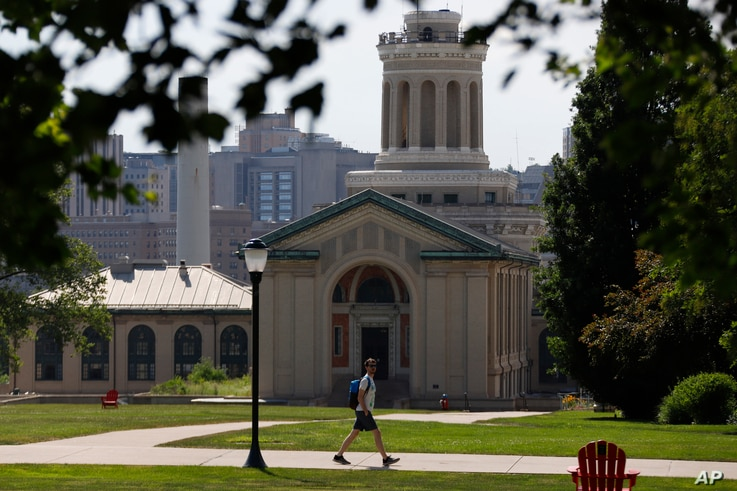 FILE - This photo from June 7, 2019, shows the Carnegie Mellon University campus in Pittsburgh. The Biden administration looks set to continue the trade war on China, The AP reports, which may continue to impact international student enrollment.
