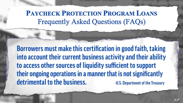 Graphic shows excerpt from a U.S. Department of the Treasury Paycheck Protection Program FAQ document. AP Illustration/Peter…