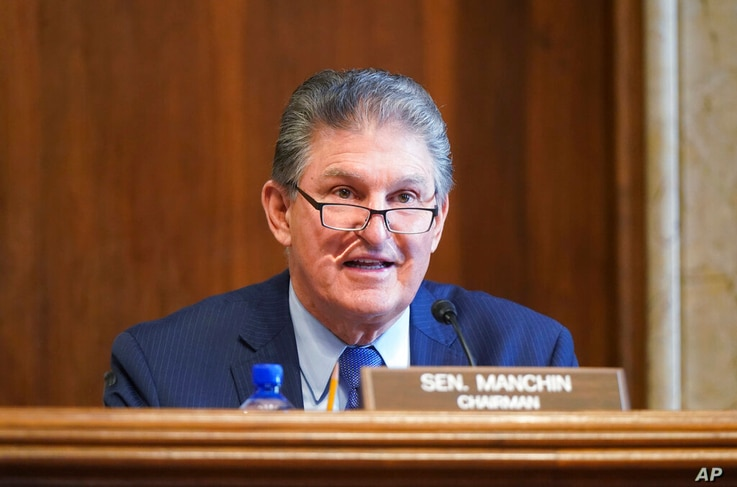 Sen. Joe Manchin, D-W.Va., speaks during a Senate Committee on Energy and Natural Resources hearing on the nomination of Rep...