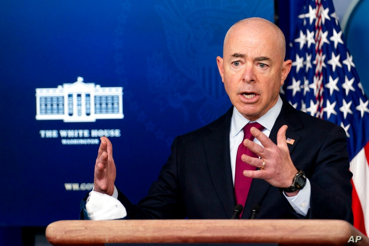 Homeland Security Secretary Alejandro Mayorkas speaks during a press briefing at the White House, Monday, March 1, 2021, in...