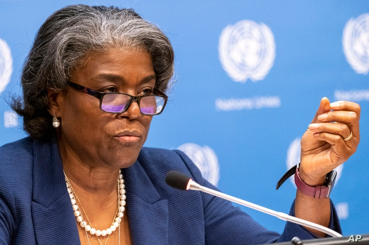 U.S. Ambassador to the United Nations, Linda Thomas-Greenfield speaks to reporters during a news conference, Monday, March 1,...