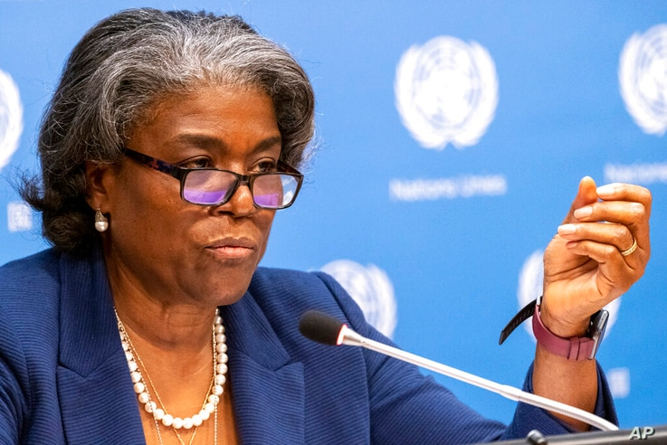U.S. Ambassador to the United Nations, Linda Thomas-Greenfield speaks to reporters during a news conference, Monday, March 1,…