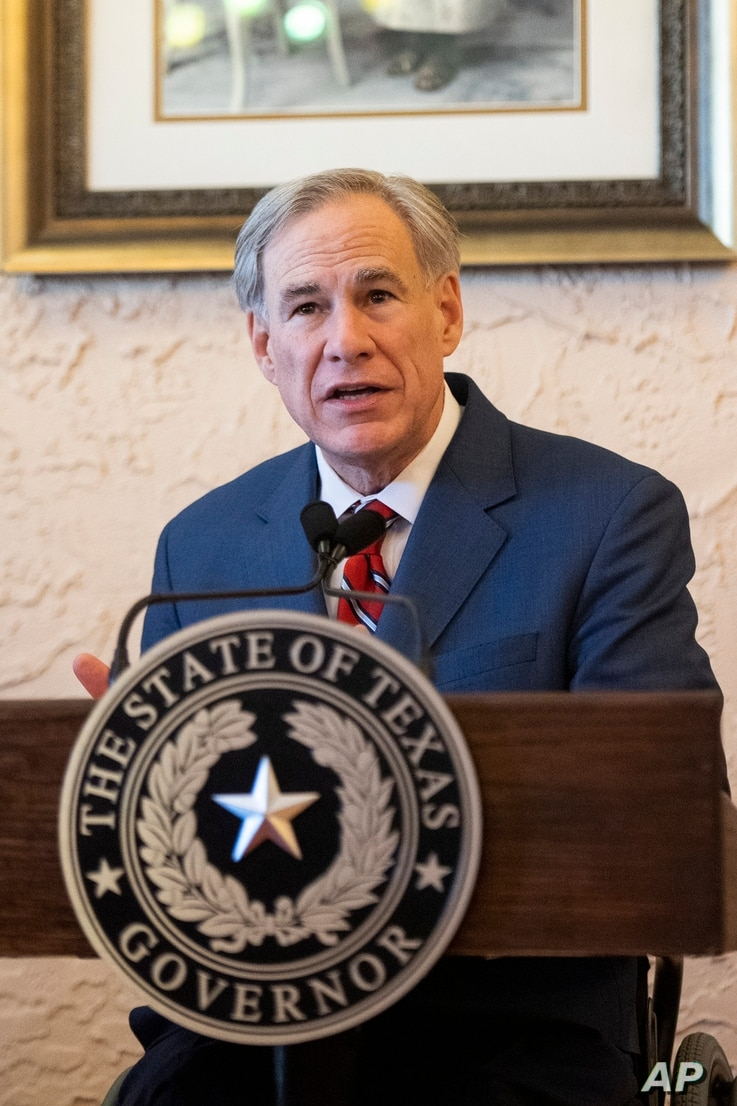 Texas Governor Greg Abbott delivers an announcement in Montelongo's Mexican Restaurant on March 2, 2021, in Lubbock, Texas. Abbott announced that he is rescinding executive orders that limit capacities for businesses and the state wide mask mandate.