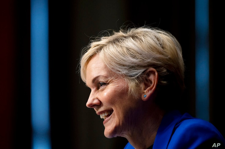 FILE - In this Jan. 27, 2021, file photo, Jennifer Granholm testifies before the Senate Energy and Natural Resources Committee…