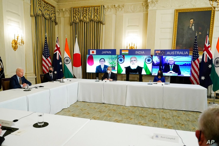 President Joe Biden speaks during a virtual meeting with Indian Prime Minister Narendra Modi, Australian Prime Minister Scott…