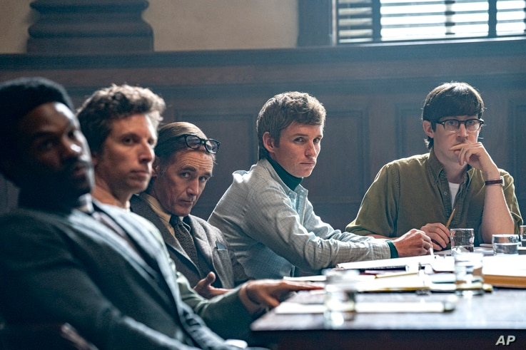 This image released by Netflix shows , from left, Yahya Abdul-Mateen, Ben Shenkman, Mark Rylance, Eddie Redmayne and Alex Sharp…