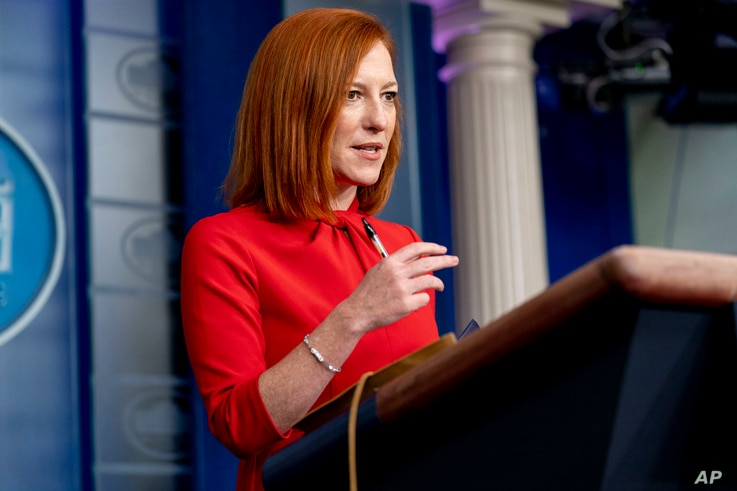 White House press secretary Jen Psaki speaks during a press briefing at the White House, Thursday, March 18, 2021, in…