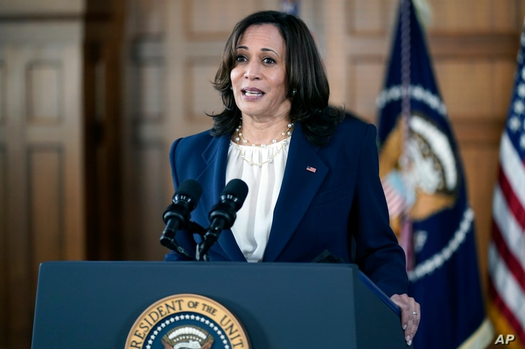 Vice President Kamala Harris speaks after meeting with leaders from Georgia's Asian-American and Pacific Islander community,…